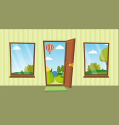 Opened door and windows cartoon flat vector