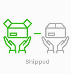 Order delivery logistics web shop line icon vector