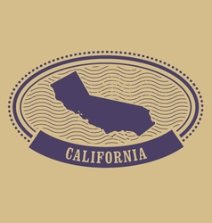 Oval stamp with California silhouette vector