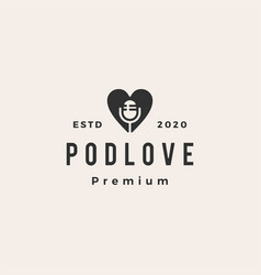 Podcast love hipster vintage logo icon vector