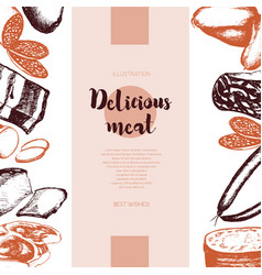 Processed meat - hand drawn banner template vector