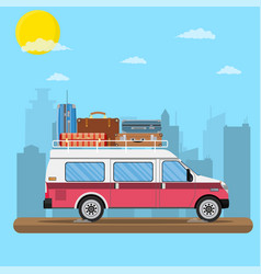 Retro travel van car with bag on roof vector
