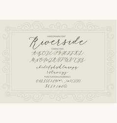 riverside - handwritten script font vector image