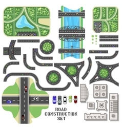 Road construction set vector