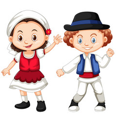 Romania girl and boy in traditional clothes vector