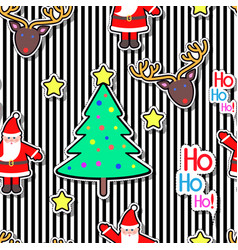 santa clause deer tree star seamless pattern vector image