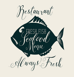 seafood menu with decorative fish and inscriptions vector image