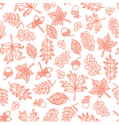 Seamless doodle leaves background orange vector
