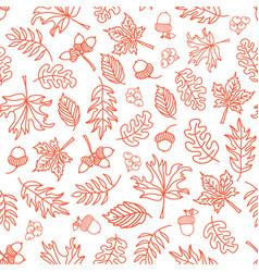 seamless doodle leaves background orange vector image