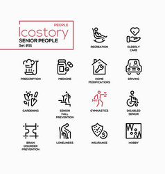 Senior people line design style icons set vector