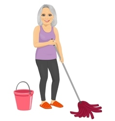 Senior woman with pink bucket and mop vector