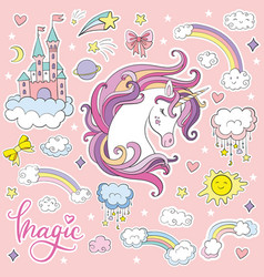 Set beauty cartoon unicorn vector