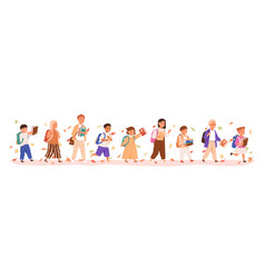 set boys and girls going to elementary or vector image