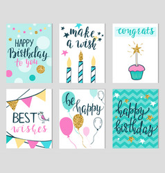 set colorful birthday card templates vector image