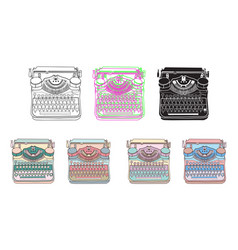 Set of 7 vintage typewriters vector