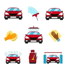Set of car washing flat icons vector