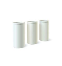 set of round tins of packaging for bulk products vector image