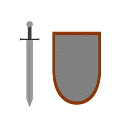 Set of sign shield and sword silver 2707 vector image