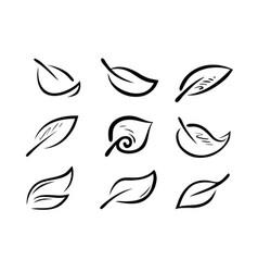 set of stylized leaves nature ecology logo vector image