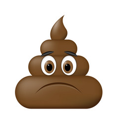 shit icon sad face poop emoticon vector image