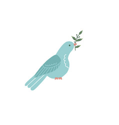 silhouette a sitting dove with olive branch vector image