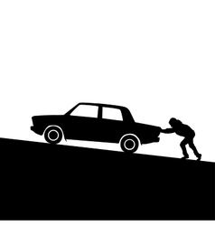 Silhouette of man pushing a car vector