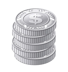 Silver coins vector