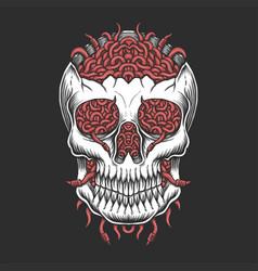 Skull head worm vector