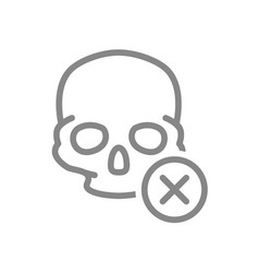 skull with cross checkmark line icon bone vector image