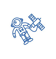 spaceman in space with spaceship line icon concept vector image