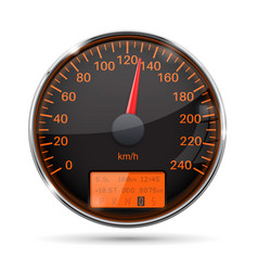 speedometer round black gauge with chrome frame vector image