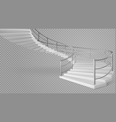 spiral staircase white stairs with railings vector image