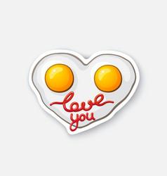 Sticker fried eggs in heart shape vector