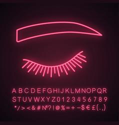 Straight eyebrow shape neon light icon vector