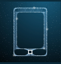 tablet computer touch screen display on blue space vector image