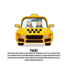 Taxi service icon driver and female passenger in vector