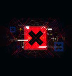 Tech futuristic red cross symbols no indicator vector