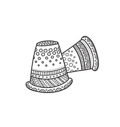 Thimble in boho style vector