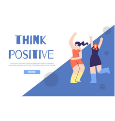 Think positive landing page in geometric design vector