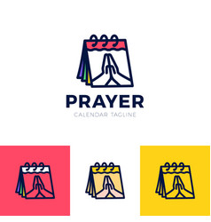 time to pray logo praying hands icon with calendar vector image