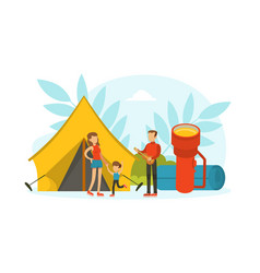 tiny tourists characters having camping trip huge vector image