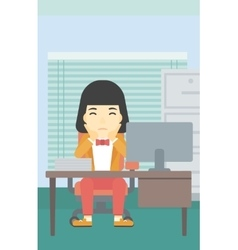 Tired woman sitting in office vector