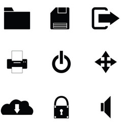 toolbar icon set vector image