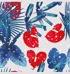 tropical plants snow seamless pattern vector image