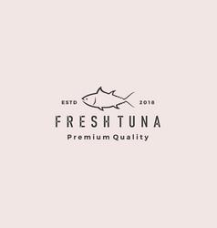 Tuna fish logo hipster retro vintage emblem label vector