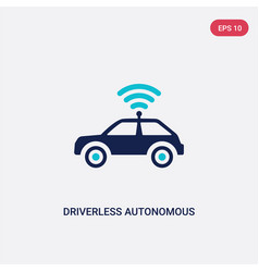 Two color driverless autonomous car icon from vector
