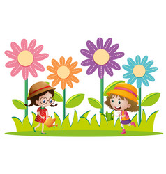 two girls watering flowers in the garden vector image