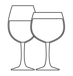 two wine glasses icon outline style vector image