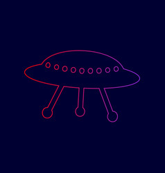 Ufo simple sign line icon with gradient vector