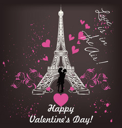 Valentines day card with eiffel tower and hearts vector